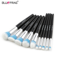 BLUEFRAG Professional Makeup Brushes Set Blue White Soft Synthetic Hair 10pcs Make Up Brush Tools Kit