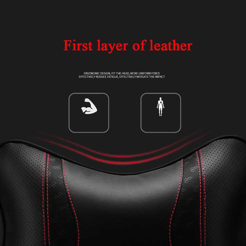 第一層革車のヘッドレストクッション首枕ヘッドレストネックサポート自動安全枕自動車の付属品 1 個 p193