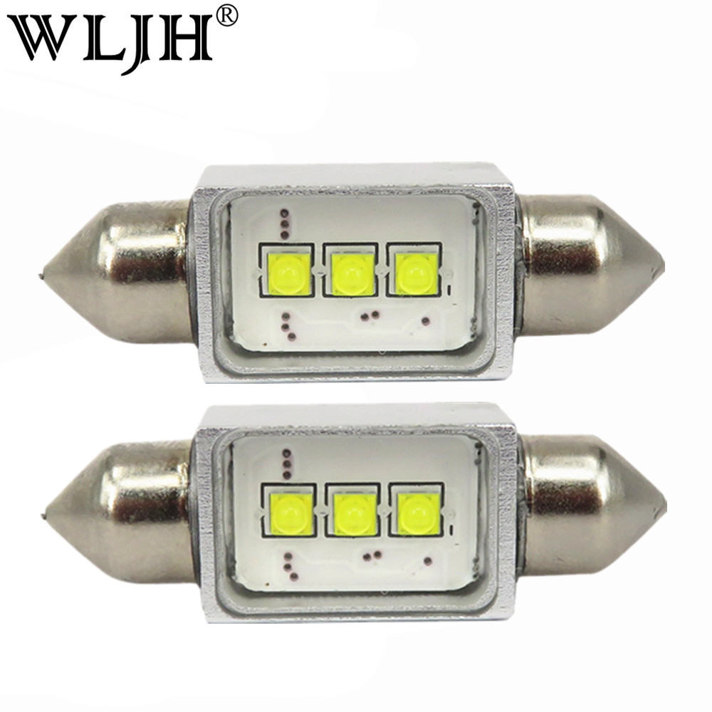 WLJH 2 x CANbus Error Free 9W 300LM LED 36mm C5W 6418 Led Bulbs Car Styling Automobiles Interior Lamp Number Plate License Light kein 1pcs canbus error free car auto led c3w c5w c10w 31mm 36mm 39mm 41mm reading license plate bulb interior light vehicle lamp