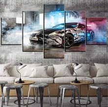 Modern Wall Decor Artwork 5 Panel Discoloration Painted Smoke Graffiti Cars Painting One Set Modular Art Poster On Canvas Print(China)