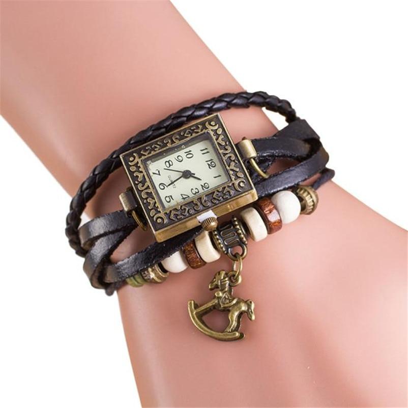 Fashion Women Watch Female Quartz Leather Weave Trojans Bracelet Watches Elegant Ladies Clock relogio Feminino