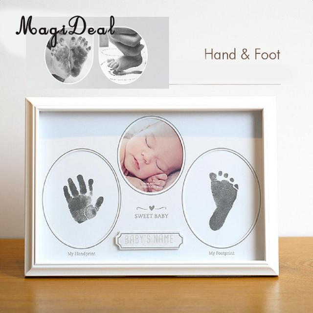 MagiDeal Newborn Hand Foot Print Kit Photo Frame / First Tooth Curl ...