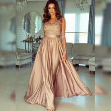 Bbonlinedress V Neck Satin Eevening Dresses with Lace and Appliques Champagne Color Prom 2019 Vestido de noche