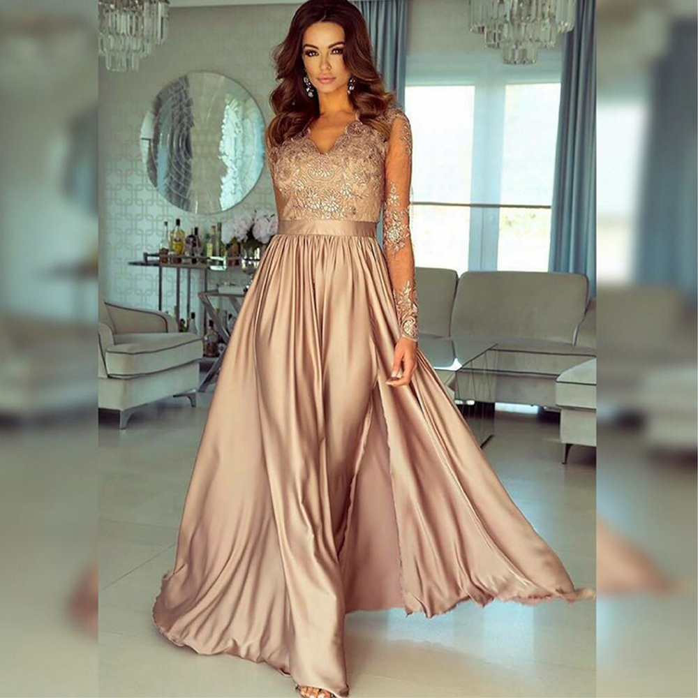 Bbonlinedress V Neck Satin Eevening Dresses with Lace and Appliques Champagne Color Prom Dresses Vestido de noche