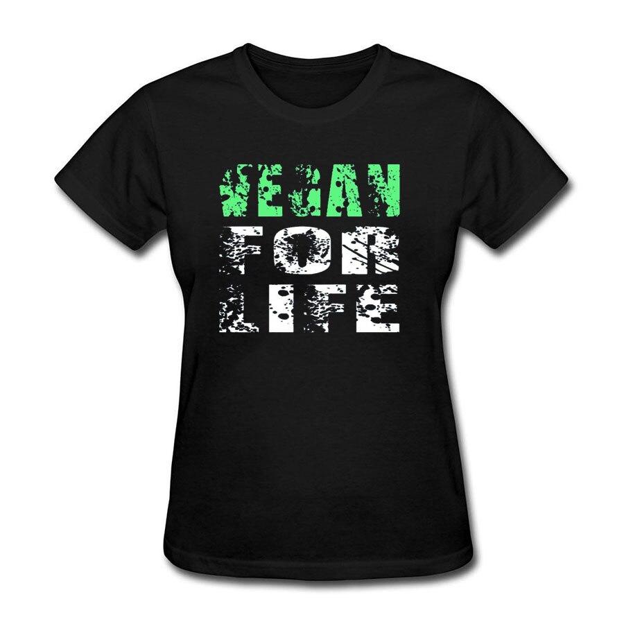 Vegan For Life Print Tee shirt Femme 18 Summer Short Sleeve Loose T-shirt Women Casual Large Size Cotton tshirt women tops 5