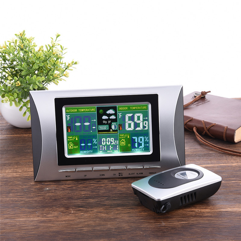 Wireless Weather Station With LCD Display Indoor Outdoor Temperature And Humidity Barometer Digital Alarm Clock цена и фото