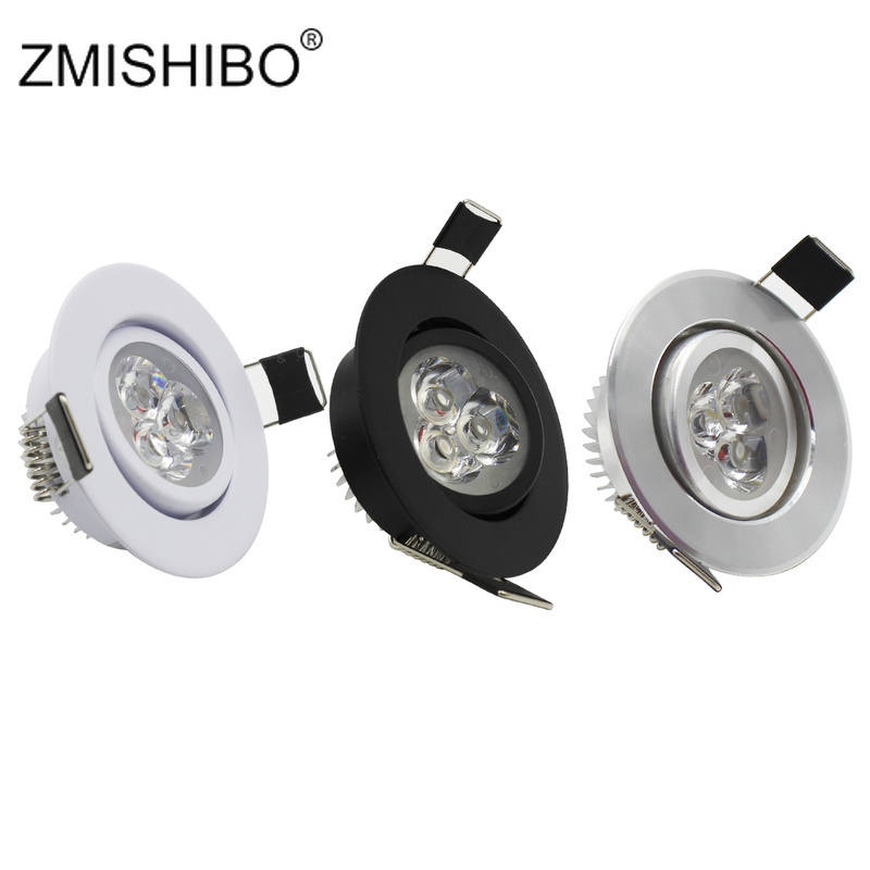 ZMISHIBO LED Downlights 50-55mm Cut Hole 3W 110V-240V White Silver Black 3000K 6000K Living Room Recessed Ceiling Spot Lamp CE