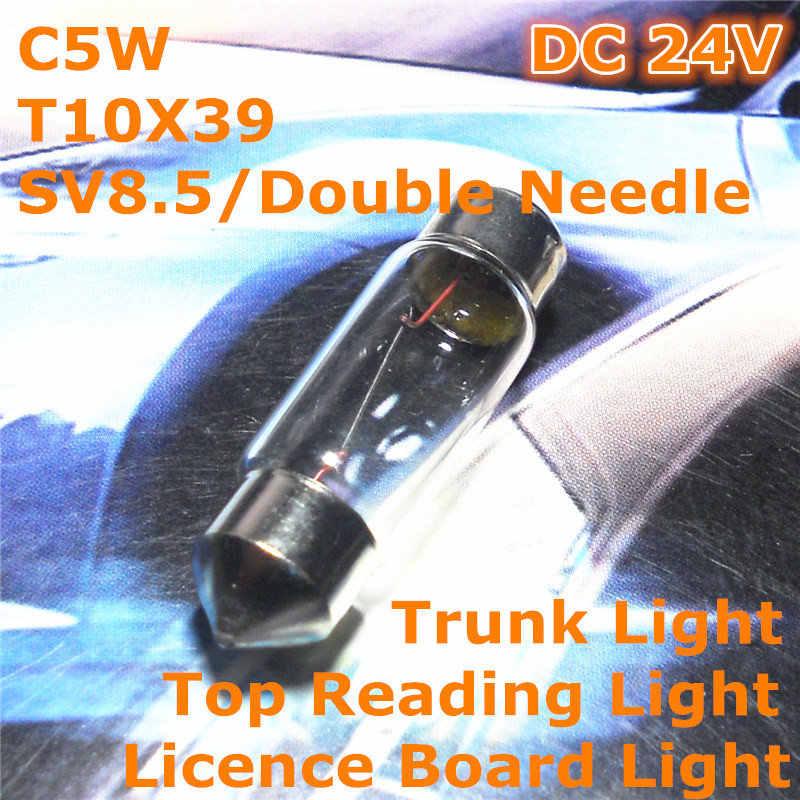 24 V Chung Halogen Warm Trắng Xe Đèn Bóng Đèn Đôi Tip 39 mét C5W T10 SV8.5 cho Top Reading Nhẹ Ánh Sáng thân cây