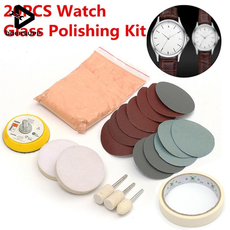 20pcs/set Watch Glass Polishing Kit Glass Scratch Removal Polishing Pad And Wheel 50mm Backing Pad Durable Quality