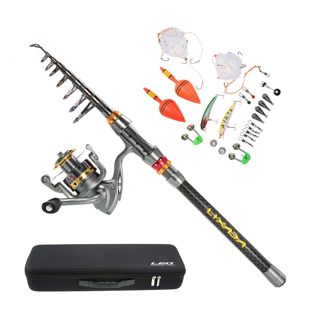 Lixada telescopic spinning fishing rod and reel combo full kit for Fly fishing combo kit