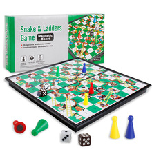 2018 Kids Folding Snake Ladder Chess Toys Portable Snakes and Ladders Puzzle Game Preschool Training Best Birthday Gift