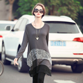 Maternity clothes Free shipping,The spring and autumn new fashion plus size Maternity Skirt irregular long sleeved T-shirt