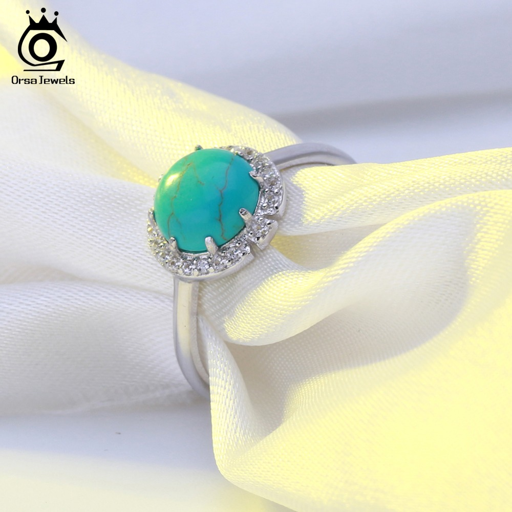 ORSA JEWELS 100% Sterling Silver Women Ring Natural Stone With AAA Zircon Jewelry Brand Wedding Engagement Silver Rings ASR55