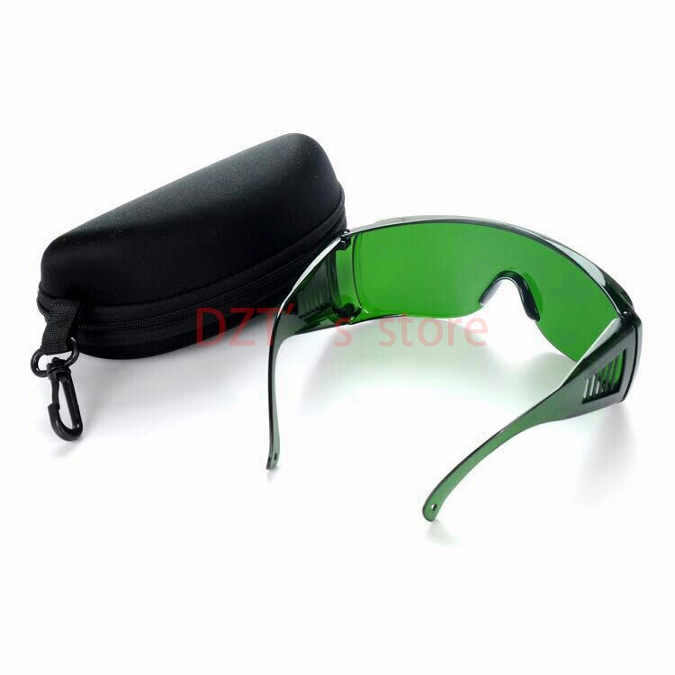 Ingyenes szállítás Kiváló minőségű 340nm-1250nm lézervédő googles Lézeres védőfelszerelés kék lila védelem + szemüvegtok