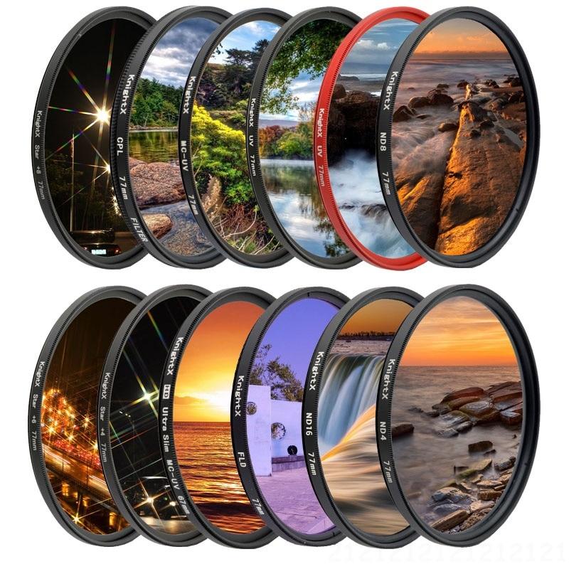 Knightx fld uv cpl nd estrela gnd lente da câmera filtro para canon eos sony nikon 49 52 55 58 62 67 72 77 mm d3300 kit dslr d5100 1300d
