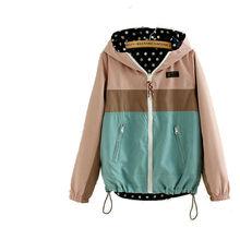 2016 Spring Fashion Women's Personality Polka Dot Double Side Wear Female Jackets Loose Casual Long Sleeve Jacket Outwear
