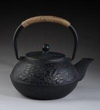 Gusseisen teekanne Set Japanischen Teekanne Tetsubin Wasserkocher Mit Metall Net Filter 900 ml Pfingstrose Kung Fu Teekugeln Authentische Großhandel