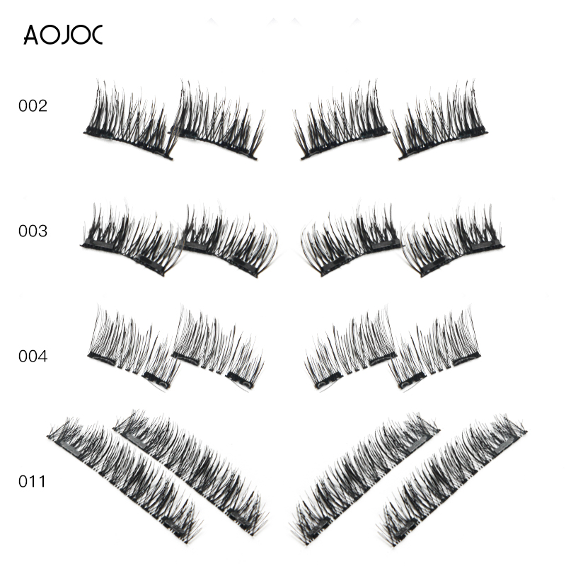 Magnet False Eyelash Extension 4Pcs/Set Handmade 3D Double Magnetic Eyelashes on magnets Natural No-glue Fake Eye Lashes Brown