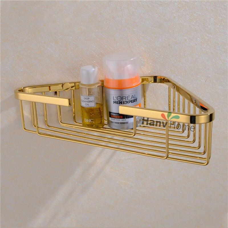 pvd ti golden stainless steel bathroom shelf bracket shelves basket shower corner storage caddy. Black Bedroom Furniture Sets. Home Design Ideas
