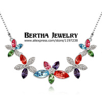 New Fashion Brand Luxury Flower Multicolor Crystal Necklaces Pendants Bijoux Women New Design High Quality Statement Jewerly