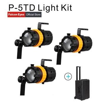 פלקון עיני צילום ציוד 3 pcs 50 W מיני ספוט אורות דו צבע וידאו סטודיו סרט תאורת למלא מנורה p-5TD עם מקרה
