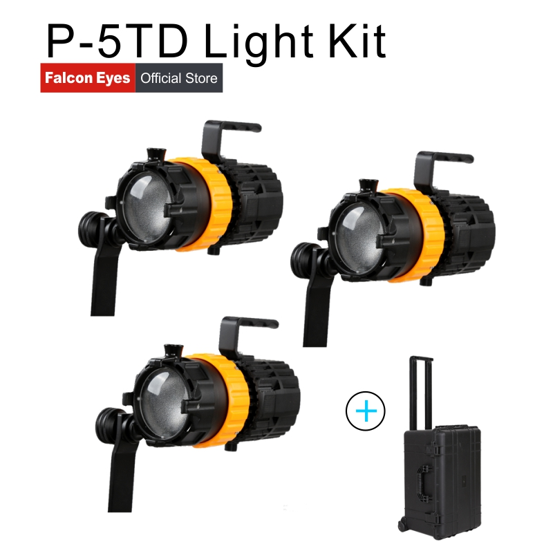 Falcon Eyes Photography Equipment 3pcs 50W Mini Spot Lights Bi color Video Studio Movie Lighting Fill Lamp P 5TD With a Case