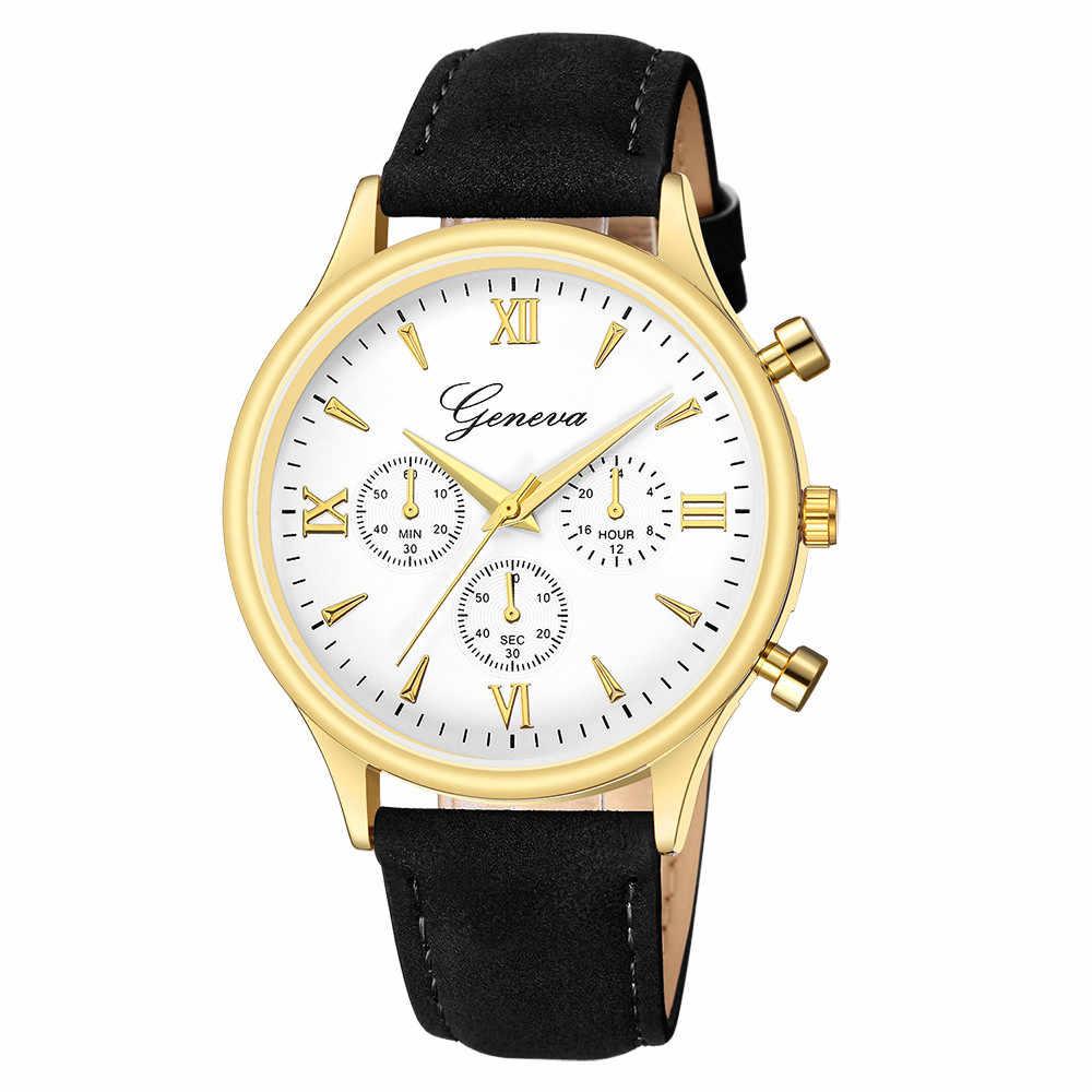 2019 Super Splendidใหม่แฟชั่นFauxหนังบุรุษBlue Rayแก้วควอตซ์นาฬิกาสบายๆนาฬิกาแบรนด์ชายนาฬิกา