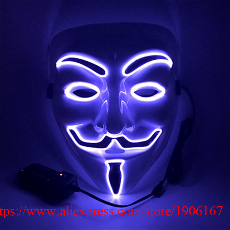 Wholesale 10 Pcs Led Luminous New Year Party Mask El Wire Light Glowing Christmas Halloween Festival Event DJ Dancer Mask