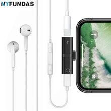 8b291c2d3ad NYFundas 2 em 1 jack adaptador de áudio para Apple iphone 7 8 6 plus X  carregador conector do fone de ouvido fone de ouvido conv.