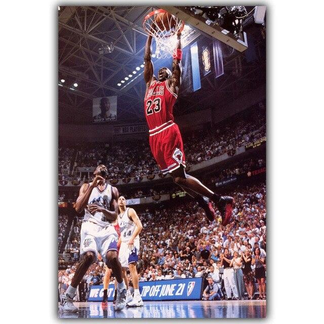 Basket Ball Sport Soie Toile Affiche Impression Papier Peint Nba