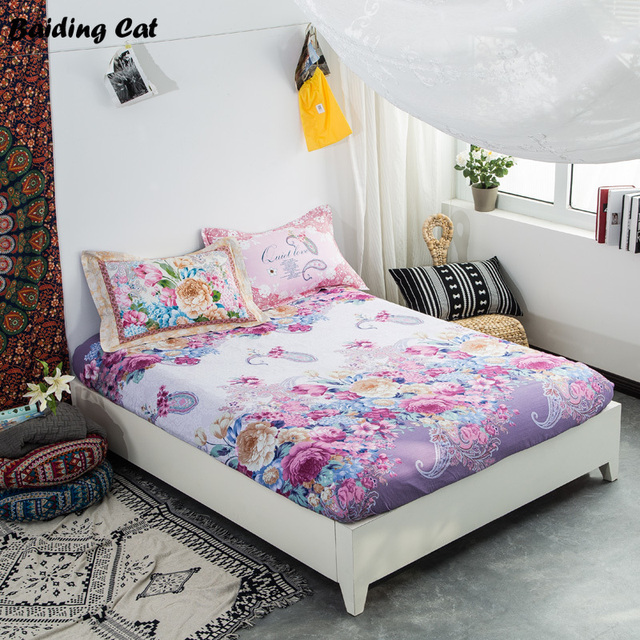 New Design Purple Flowers Fitted Sheet 100% Cotton Bed Sheet With Elastic  Band Adult Mattress