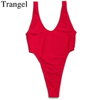Trangel New One Pieces Swimsuit Thong Bikini Backless Women Sexy Bikini Sets Swimwear Solid White Black