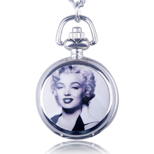Marilyn Monroe Vintage Necklace Watch Quartz Pocket Watch Men's And Women's Sweater Chain Jewelry Drop Shipping