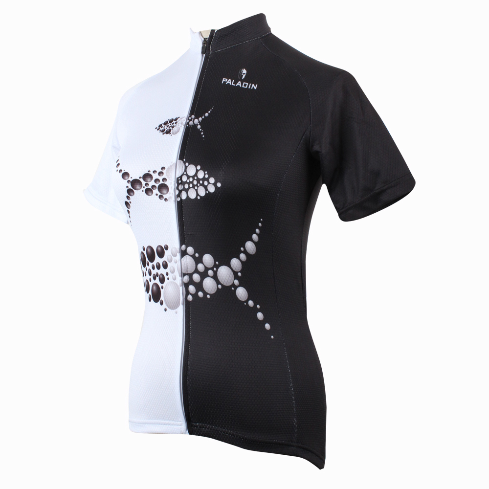 Здесь продается  2016 Women Personality 1/2 Black and White top Sleeve Cycling Jersey Fish bike top Breathable Cycling Clothes Size XS-6XL ILPALA  Спорт и развлечения