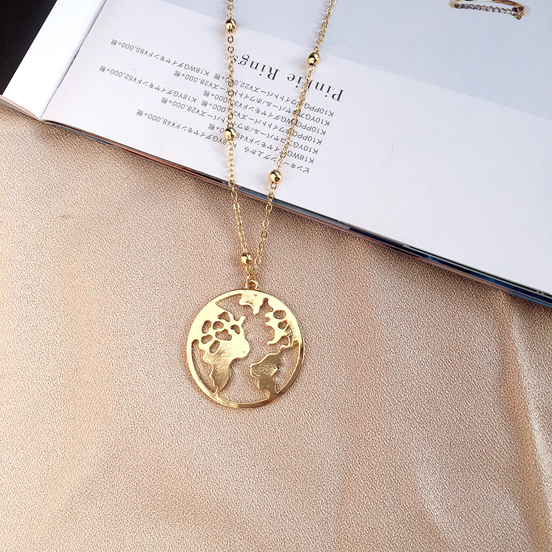 New Beads Chain Globe World Map Pendant Necklace Hollow Fashion Outdoor Travel Lover Earth Trip Best Jewelry Gift