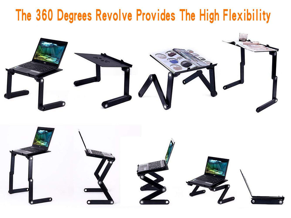 folding laptop table stand with adjustable ergonomic design for ultrabook, netbook or tablet with mouse pad