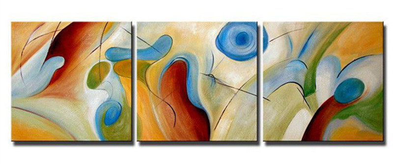 3 Piece Canvas Picture Handpainted Abstract Geometric Oil