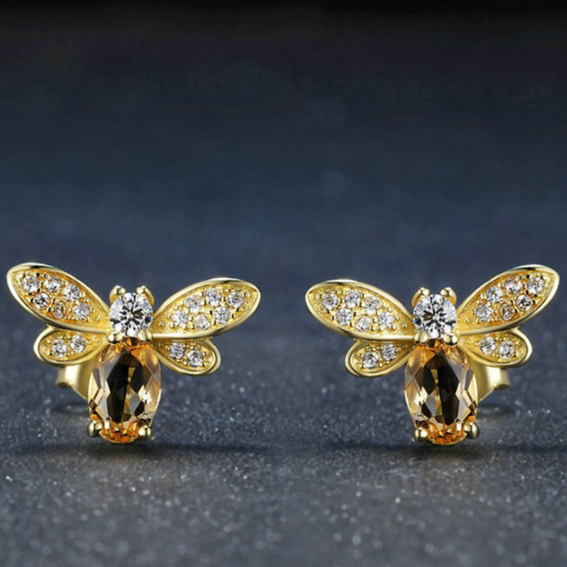 Stud-Earrings-Silver-925-jewelry-Lovely-Honey-Bee-Animal-Shape-Gold-Color-Fine-For-Wedding-Engagement