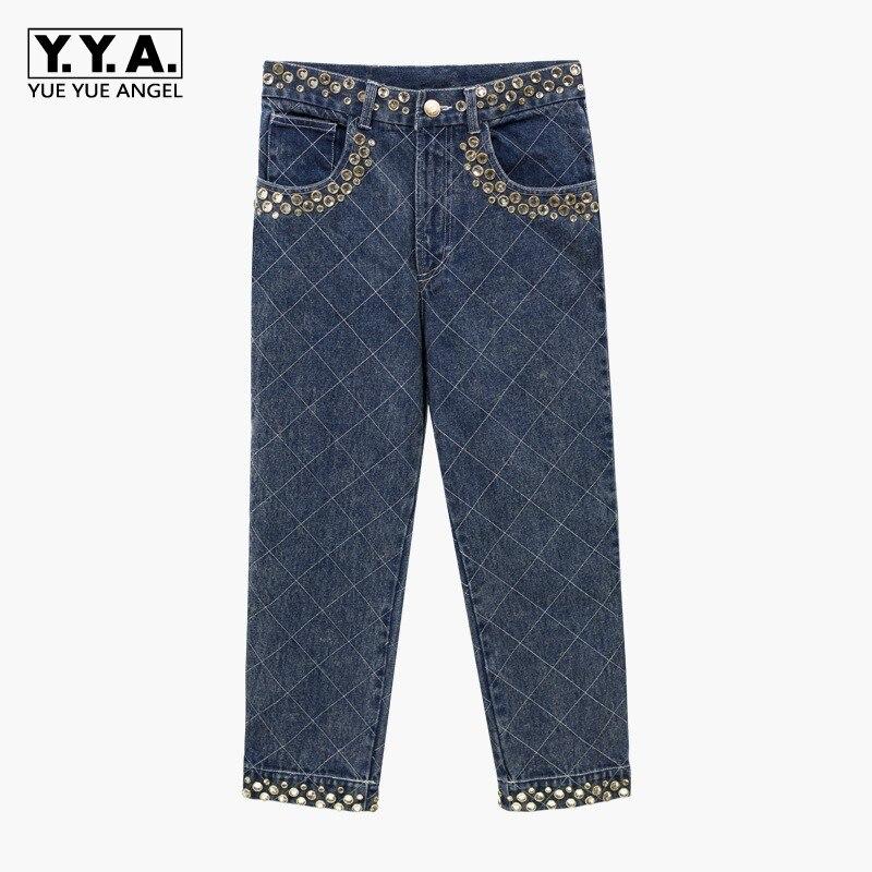 Nouvelle Denim Décontracté Loose Taille Plaid Haute Fit Blue Diamant Femelle Streetwear Femme Sarouel 2019 Perles Jean Pantalon Jeans Cristal MLqSzpUGV