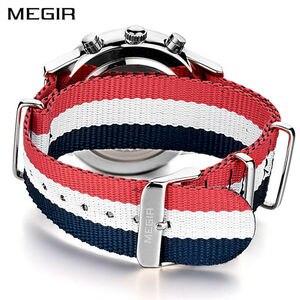 Image 2 - MEGIR מקורי גברים שעון נשים שעונים אופנה ספורט קוורץ שעונים בד רצועת שעוני יד Relogio Masculino שעון גברים 2011