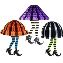 Hanging Halloween Decorations For Home Handmade Honeycomb Witch Legs Vintage Decor