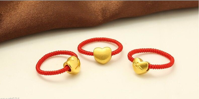 BEST GIFT Solid 999 24K Yellow Gold / Gold Heart knitted Ring / 1Pcs RingBEST GIFT Solid 999 24K Yellow Gold / Gold Heart knitted Ring / 1Pcs Ring