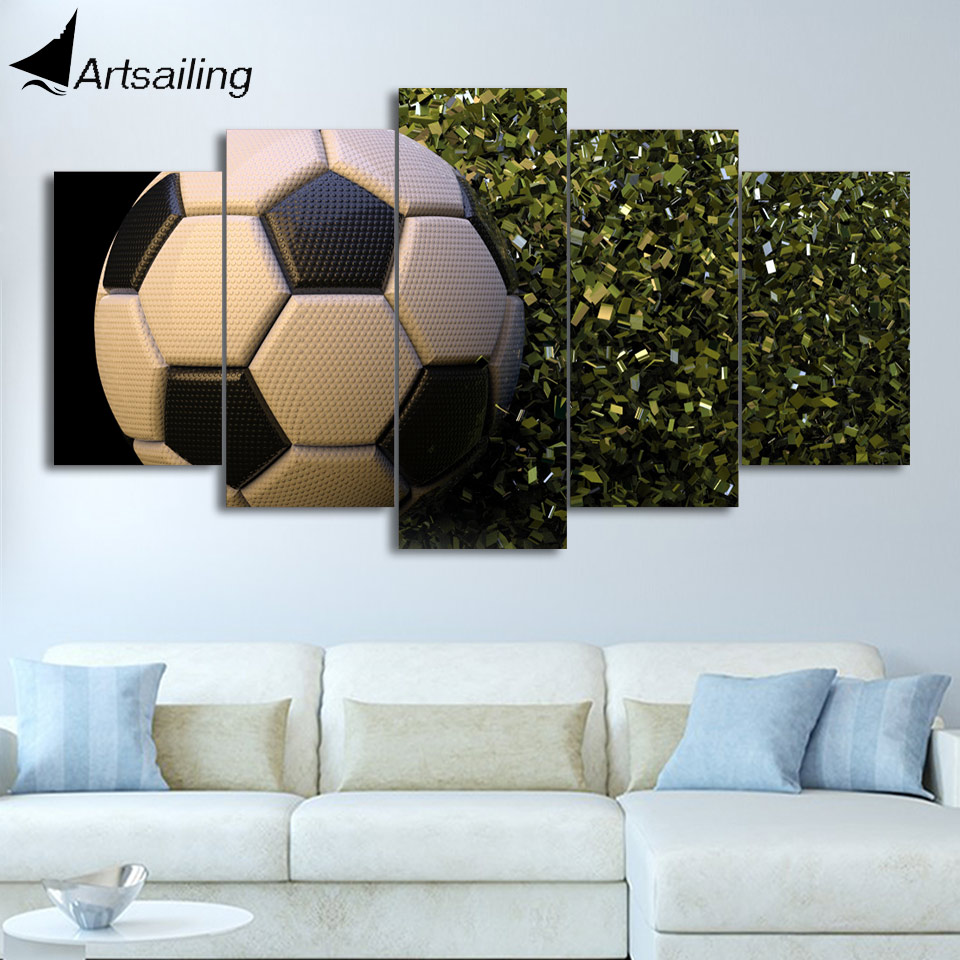 HD Printed 5 Piece Canvas Art Soccer Ball Canvas Prints Wall Pictures for Living Room Modern Free Shipping CU-3212A