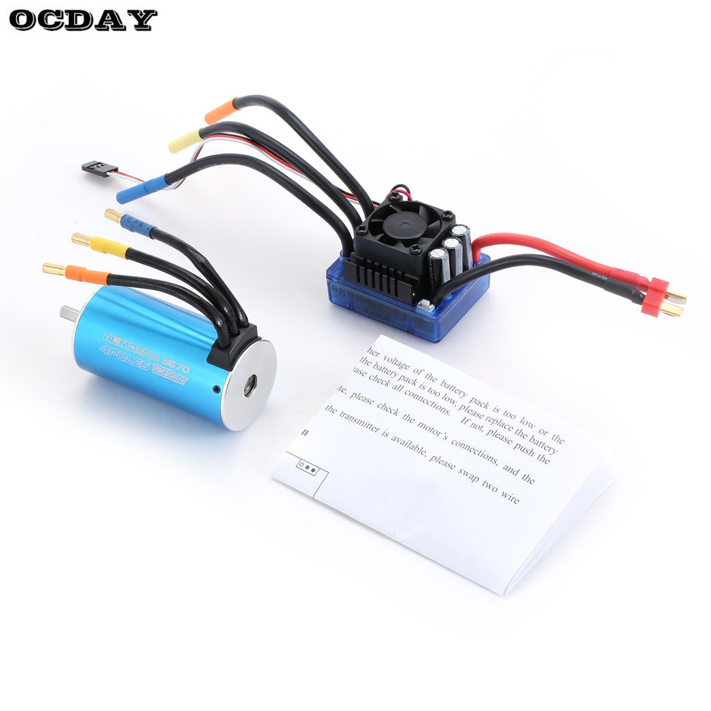 3670 1900KV 4 poles Sensorless Brushless Motor with 120A Electronic Speed Controller Combo Set for 1/8 RC Car and Truck
