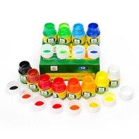 جديد رائع لون الماء للغسل الاصبع اللوحة 12 قطعة/الوحدة 30 ملليلتر غير سامة الرسم لعب للأطفال