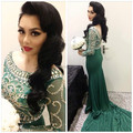 Oumeiya ONE396 Stretch Jersey Beaded Low Back Mermaid Sexy Emerald Green Long Sleeve Evening Dress 2016