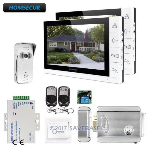 HOMSECUR 9inch Wired Video&Audio Home Intercom Electric Lock+Keys Included