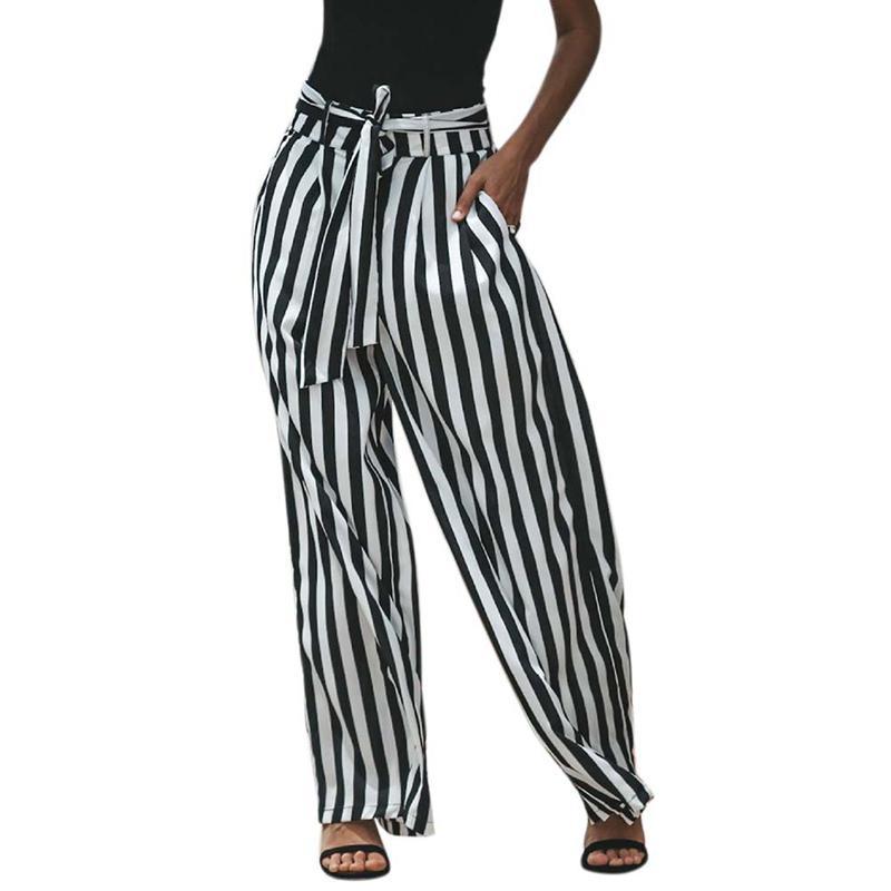 Women's Loose Casual Pants Women Stripes Belt Wide Leg Pants Trousers Women 2018