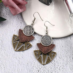 Geometric-Pendant-Earrings Jewelry Multi-Piece New-Products Boho-Style Bohemian Vintage
