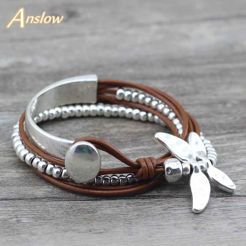 Anslow Best Selling New 2017 Discount Fashion Jewelry Drongfly Wire Wrap Leather Bracelets Sale Dropshipping Gift LOW0585LB(China)